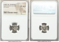 CARIAN ISLANDS. Rhodes. Ca. late 3rd-early 2nd centuries BC. AR drachm (14mm, 12h). NGC Choice AU. Gorgos, magistrate. Head of Helios facing, turned s...