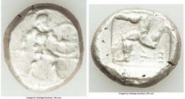 PAMPHYLIA. Aspendus. Ca. mid-5th century BC. AR stater (19mm, 10.93 gm). About VF. Helmeted nude hoplite advancing right, shield in left hand, spear f...