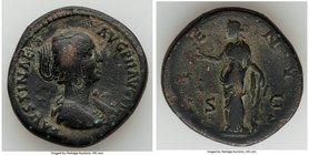 Faustina Junior (AD 147-175/6). AE sestertius (32mm, 24.66 gm, 1h). Choice Fine. Rome, AD 145-147. FAVSTINAE-AVG PII AVG FIL, draped bust of Faustina ...