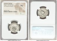 Philip I (AD 244-249). AR antoninianus (21mm, 7h). NGC AU. Rome, 2nd officina, Millennial Issue, AD 248. IMP PHILIPPVS AVG, radiate, draped and cuiras...