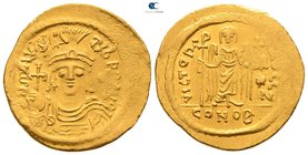 Maurice Tiberius AD 582-602. Constantinople. 7th officina. Solidus AV