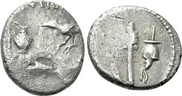 MARK ANTONY and LEPIDUS. Quinarius (43 BC). Military mint travelling with Antony and Lepidus in Transalpine Gaul.
