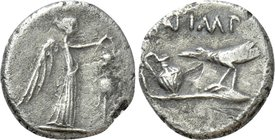 MARK ANTONY. Quinarius (43 BC). Military mint traveling with Antony and Lepidus in Transalpine Gaul.