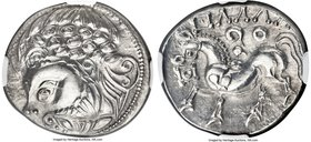 EASTERN EUROPE. Ca. 3rd-2nd centuries BC. AR tetradrachm (24mm, 12.04 gm, 4h). NGC Choice AU 5/5 - 4/5. 'Zickzackgruppe' type imitating Philip II of M...