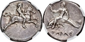 CALABRIA. Tarentum. Ca. 380-340 BC. AR nomos (21mm, 7.88 gm, 2h). NGC Choice XF 5/5 - 3/5, Fine Style. Nude youth on horse galloping right, holding re...