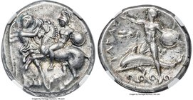 CALABRIA. Tarentum. Ca. early 3rd century BC. AR stater or didrachm (20mm, 7.83 gm, 3h). NGC Choice XF 4/5 - 5/5. Nike leaning left, holding reigns an...