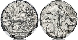 SICILY. Selinus. Ca. 440-409 BC. AR tetradrachm (29mm, 17.08 gm, 6h). NGC AU 4/5 - 3/5. ΣEΛINO-N-TI-ON (retrograde), Artemis driving walking quadriga ...