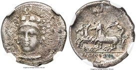 SICILY. Selinus. Ca. 410 BC. AR hemidrachm (16mm, 1.79 gm, 4h). NGC VF 5/5 - 2/5, Fine Style. Head of Heracles facing slightly left, wearing lion's sk...