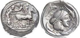 SICILY. Syracuse. Deinomenid Tyranny (ca. 475-470 BC). AR tetradrachm (24mm, 17.42 gm, 7h). NGC Choice VF S 5/5 - 5/5. Struck under Hieron I. Chariote...