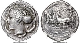 SICILY. Syracuse. Ca. 415-405 BC. AR tetradrachm (26mm, 17.16 gm, 12h), NGC XF 4/5 - 3/5, marks. Reverse die (which is the obverse position in the hol...