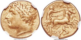SICILY. Syracuse. Agathocles (317-289 BC). AV hemistater, decadrachm or 50 litrae (15mm, 4.25 gm, 4h). NGC VF 5/5 - 3/5. Under Agathocles as Tyrant, 3...