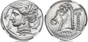 SICULO-PUNIC. Sicily. Ca. 320-300 BC. AR tetradrachm (26mm, 16.95 gm, 1h). NGC AU 5/5 - 3/5, brushed. Head of Tanit-Persephone left, wearing pearl nec...