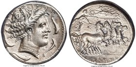 SICULO-PUNIC. Sicily. Ca. 330-305 BC. AR tetradrachm (25mm, 17.1 gm, 12h). ANACS EF 40. Head of Tanit-Kore-Persephone right, hair wreathed with grain ...