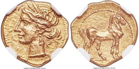 ZEUGITANA. Carthage. Ca. 221-201 BC. AV quarter-shekel (13mm, 1.90 gm, 12h). NGC AU S 5/5 - 5/5. Wreathed head of Tanit left / Horse standing right. J...