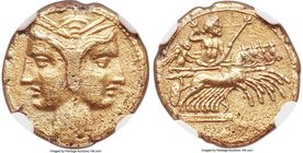 ZEUGITANA. Carthage. Ca. 216-211 BC. EL 3/8 shekel (14mm, 2.78 gm, 1h). NGC AU 4/5 - 2/5, graffito. Janiform female bust / Zeus and Nike in quadriga g...