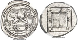 MACEDON. Acanthus. Ca. 470-430 BC. AR tetradrachm (28mm, 17.36 gm, 2h). NGC Choice AU S 5/5 - 4/5, Fine Style. Lion springing right, biting into hind ...