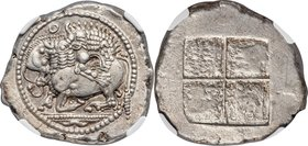 MACEDON. Acanthus. Ca. 470-430 BC. AR tetradrachm (30mm, 17.48 gm). NGC AU 5/5 - 4/5. Lion springing right, attacking bull kneeling to left with raise...