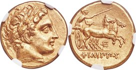 MACEDONIAN KINGDOM. Philip II (359-336 BC). AV stater (18mm, 8.61 gm, 8h). NGC MS 5/5 - 4/5. Late lifetime to early posthumous issue of Pella, ca. 340...