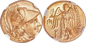 MACEDONIAN KINGDOM. Alexander III the Great (336-323 BC). AV stater (18mm, 8.59 gm, 1h). NGC MS 5/5 - 4/5. Posthumous issue of Abydus, ca. 310-301 BC....
