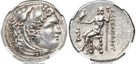 MACEDONIAN KINGDOM. Alexander III the Great (336-323 BC). AR tetradrachm (28mm, 17.08 gm, 12h). NGC Choice AU S 5/5 - 5/5, Fine Style. Posthumous issu...
