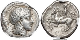 THESSALY. Pharsalus. Ca. 425-350 BC. AR drachm (19mm, 6.04 gm, 8h). NGC XF 5/5 - 3/5. Aiginetic standard, ca. 400-370 BC, obverse die signed by Teleph...
