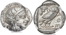 ATTICA. Athens. Ca. 455-440 BC. AR tetradrachm (24mm, 17.19 gm, 9h). NGC MS 5/5 - 4/5. Early transitional issue. Head of Athena right, wearing crested...