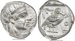 ATTICA. Athens. Ca. 455-440 BC. AR tetradrachm (22mm, 17.15 gm, 7h). NGC MS 4/5 - 3/5. Early transitional issue. Head of Athena right, wearing crested...