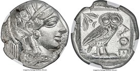 ATTICA. Athens. Ca. 440-404 BC. AR tetradrachm (25mm, 17.22 gm, 4h). NGC Choice MS 5/5 - 5/5. Mid-mass coinage issue. Head of Athena right, wearing cr...