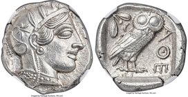 ATTICA. Athens. Ca. 440-404 BC. AR tetradrachm (25mm, 17.21 gm, 9h). NGC MS 5/5 - 5/5. Mid-mass coinage issue. Head of Athena right, wearing crested A...
