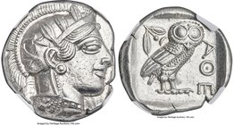 ATTICA. Athens. Ca. 440-404 BC. AR tetradrachm (26mm, 17.20 gm, 3h). NGC MS 5/5 - 5/5. Mid-mass coinage issue. Head of Athena right, wearing crested A...