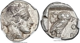 ATTICA. Athens. Ca. 440-404 BC. AR tetradrachm (22mm, 17.21 gm, 2h). NGC MS 5/5 - 5/5. Mid-mass coinage issue. Head of Athena right, wearing crested A...