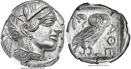 ATTICA. Athens. Ca. 440-404 BC. AR tetradrachm (24mm, 17.19 gm, 8h). NGC MS 5/5 - 5/5. Mid-mass coinage issue. Head of Athena right, wearing crested A...