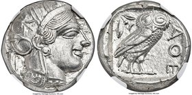 ATTICA. Athens. Ca. 440-404 BC. AR tetradrachm (23mm, 17.20 gm, 6h). NGC MS 5/5 - 5/5. Mid-mass coinage issue. Head of Athena right, wearing crested A...