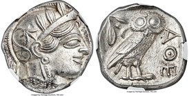 ATTICA. Athens. Ca. 440-404 BC. AR tetradrachm (25mm, 17.22 gm, 8h). NGC MS 5/5 - 4/5. Mid-mass coinage issue. Head of Athena right, wearing crested A...