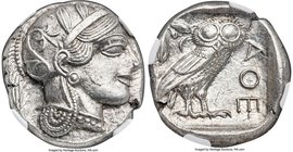ATTICA. Athens. Ca. 440-404 BC. AR tetradrachm (24mm, 17.19 gm, 7h). NGC MS 5/5 - 4/5. Mid-mass coinage issue. Head of Athena right, wearing crested A...