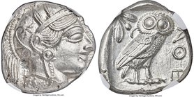 ATTICA. Athens. Ca. 440-404 BC. AR tetradrachm (24mm, 17.21 gm, 9h). NGC MS 4/5 - 5/5. Mid-mass coinage issue. Head of Athena right, wearing crested A...