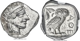ATTICA. Athens. Ca. 440-404 BC. AR tetradrachm (25mm, 17.19 gm, 10h). NGC MS 4/5 - 5/5. Mid-mass coinage issue. Head of Athena right, wearing crested ...