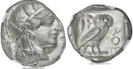 ATTICA. Athens. Ca. 440-404 BC. AR tetradrachm (26mm, 17.24 gm, 10h). NGC MS 4/5 - 4/5. Mid-mass coinage issue. Head of Athena right, wearing crested ...