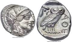 ATTICA. Athens. Ca. 454-404 BC. AR tetradrachm (24mm, 3h). ANACS MS 60. Mid-mass coinage issue, 440-404 BC. Head of Athena right, wearing crested Atti...
