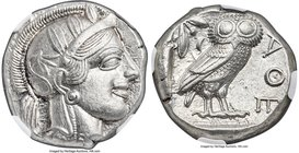 ATTICA. Athens. Ca. 440-404 BC. AR tetradrachm (22mm, 17.15 gm, 7h). NGC Choice AU 5/5 - 5/5, Full Crest. Mid-mass coinage issue. Head of Athena right...