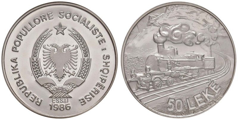 "ALBANIA Repubblica - 50 Leke 1986 Essai – Palladio RRR In slab PCGS SP69 ""Train ..."