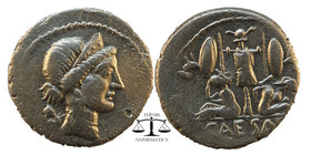 Julius Caesar circa 46-45 BC. Denarius AR Diademed head of Venus right, with Cupid over her shoulder Trophy of Gallic arms, composed of helmet and cui...