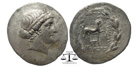 Kyme AR Tetradrachm, c. 165-140 BC Obv. Head of the Amazon Kyme to right, wearing taenia. Rev. Horse prancing right; one-handled cup below raised fore...