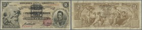 "Argentina: 2 Pesos 1888 overstamped ""Renovacion 1894"" Serie 008 P. S1162c, seldom seen note in used condition with folds and lightly stained paper, pr..."