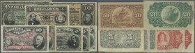 Argentina: set of 8 early dated banknotes containing 5 Centavos 1883 P. 5 (XF), 3x 5 Pesos 1891 P. 209 (1x XF, 1x VF-, 1x F-), 10 Pesos 1891 P. 210 (a...