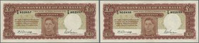Australia: set of 2 CONSECUTIVE 10 Pounds ND(1940-52) portrait KGV, signatures Armitage-McFarlane, great rarity as completly crisp and uncirculated pa...