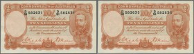 Australia: highly rare lot of 5 CONSECUTIVE banknotes 10 Shillings 1936 KGV, with numbers from 582631 to 582635, high catalog value, signed Riddle-She...