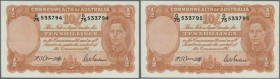 Australia: set of 2 CONSECUTIVE banknotes 10 Shillings 1942 KGIV, rarely seen as consecutive notes, signed Armitage-McFarlane plus Armitage as Governo...
