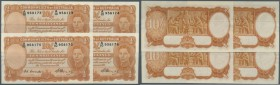 Australia: rare set of 4 CONSECUTIVE banknotes 10 Shillings 1949 portrait KGV, signed Coombs-Watt plus Coombs as Governor Commonwealth Bank, serial nu...