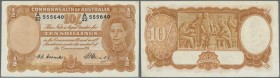 Australia: 10 Shillings 1949 Rennick R14, signatures Coombs-Watt plus Coombs as Covernor Commonwealth Bank, nice colors and clean paper, a light paper...